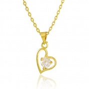 CS-DB Gold 24K Real Gold Plated Crystal Hollow Flat Heart Pendant Women Necklace 46cm