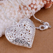 CS-DB Gold 925 Sterling Silver Filled Hollow Flower Heart Locket Vintage Pendant Necklace White Gold Colour