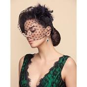 FLOW ZIG Tulle Dots Pattern Wedding/Party Blusher Veils With Feathers
