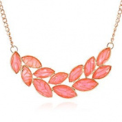 FLOW ZIG Fashion Inlaid Plate Leaves Statement Necklace