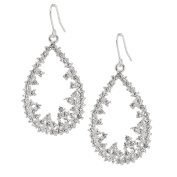 Spinningdaisy Abstract Series Crystal Open Floral Dangle Earrings