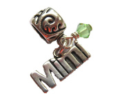 Mimi with Peridot Crystal, August Birthstone Small Sterling Silver Dangle Charm