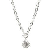 Spinningdaisy Crystal Flashing Sun Toggle Necklace
