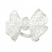 Brass Pavé Clear Cubic Zirconia Bowtie Ring
