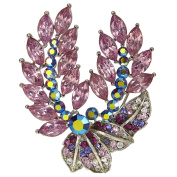 Floral Leaf Brooch Crystalized with Circular and Oval Shaped Crystals