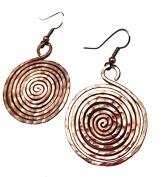 Elaments Design Solid Copper Tight Spiral Design 3.2cm Dangle Hand Hammered