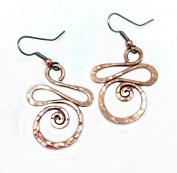 Elaments Design Solid Copper Earrings Basking Swan Design 3.6cm Dangle Hand Hammered