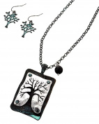 Auralee & Company Silver Tone Patina Metal Tree Pendant Tree of Life Necklace & Earring Set