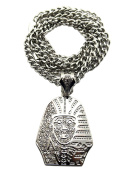 "New Iced Out KING TUT Pendant 6mm & 36"" Cuban Link Chain Hip Hop Necklace XK1R"
