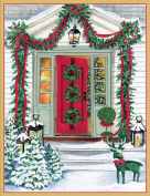 Entertaining with Caspari Red Door with Garlands Christmas Cards