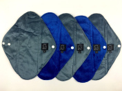 5 Pack MIXED BLUE PLAIN COLOURS - HEAVY FLOW - Cloth Sanitary Pads (CSP), Bamboo CHARCOAL, Minkee / MINKY, Washable Reusable Period Protection, Menstrual Products, Mama Towel, Sanitary Napkins - {Kernow Kloth}