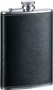 Visol Max Leather Premium Quality Liquor Flask, 240ml, Black