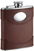 """Visol """"Armstrong"""" Leather Stainless Steel Hip Flask, 180ml, Brown"""