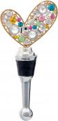 LS Arts Heart with Stones Bottle Stopper, Multicolor