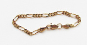 """Figaro Link Chain Baby or Toddler Tennis Bracelet 14k Gold Plated 5""""L 2mm W Lobster Claw Clasp"""