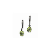 Black-plated Green Glass Stones Leverback Earrings