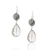 Crystal Dangling Double Floral Oval Earrings
