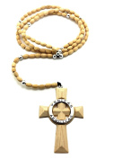 "Saints Cross Wooden Rosary 5mm & 39""wooden Ball Chain Necklace Natural"