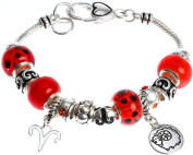 Royal Diamond Aries Sign Charm Bracelet with Heart Lock and Murano Beads. March 21- April 10