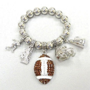 Accessory Accomplice Silvertone Crystal Encrusted Football Charm Bracelet
