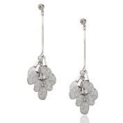 Spinningdaisy FA Series Silver Plated Dangling Crystal Wrap with Pole Earrings