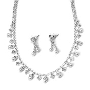 Silver Alternating Mini Pearls and Rhinestones Bridal Necklace Earring Set