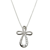 Cubic Zirconia Eternity Cross Sterling Silver Pendant Round Omega Necklace