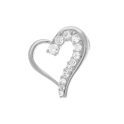 Sterling Silver 925 Rhodium Journey of Love CZ Heart Pendant - Free 41cm Chain - The Royal Gift