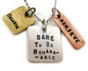 Womens Pendant Necklace 'Dare To Be Remarkable' - Three Tone Antique, Stamped Charm Pendant With Religious Symbols - Authentic Inspirational Message Guaranteed To Challenge You To Be Your Best - Great Sports Fan Pendant Gift