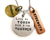 Womens Pendant Necklace 'Life Is Tough But I Am Tougher' - Three Tone Antique, Stamped Charm Pendant With Religious Symbols - Authentic Inspirational Message Guaranteed To Give You Strength During Those Tough Times - Great Sports Fan Pendant Gift