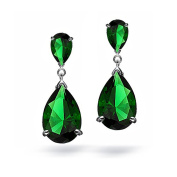 Simulated Emerald CZ Oval Teardrop Green Crystal Dangle Chandelier Earrings