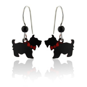 Sienna Sky Hand Painted Scottie Dog Earrings, Sterling Silver Ear Wires, Scottish Terrier