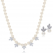 "LAURA & ALEXANDER 17"" Hand Knot 5mm Simulated Cream Pearl Necklace and Earring SET Rhodium Plated"