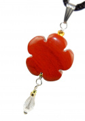 """Red Jasper Flower & Clear Dew Drop : Heart & Vision Charm Pendant, Natural Crystal Gemstone Collectibles 1.58"""" (40mm) - Black Adjustable Necklace 20-24"""", Stainless Steel Bail"""