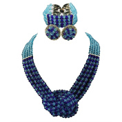 Africanbeads 4 Layers Crystal Choker Necklace Nigerian Wedding African Beads Jewellery Set Party Gift