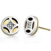 Poonsuk@lucky Silver and Gold Circle with Cz Diamond Stainless Steel Stud Earrings.