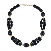Pearlz Gallery Wonderful Rectangle, Tumble, Rice Shaped Black Agate Gem Stone Beads Necklace for Women