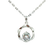 Fashion Jewellery - 18k White Gold Plated Round CZ Necklace