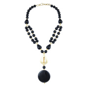 Pearlz Gallery Prompt Drop, Round, Coin Shaped Black Agate Gem Stone Beads Necklace for Women
