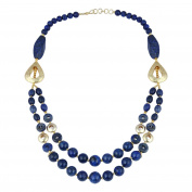 Pearlz Gallery Surprising Shaped Dyed Lapis Lazuli Gem Stone Beads Necklace for Women