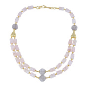 Pearlz Gallery Delight Shaped Smoky Quartz, Rose Quartz Gem Stone Beads Necklace for Women