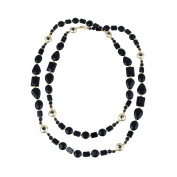 Pearlz Gallery Appeasing Shaped Black Agate Gem Stone Beads Necklace for Women