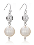 Simple Modern Eyelet Fish Hooks French Hooks Simulated Pearl Dangle Drop Earrings Rhodium Plated in Box