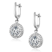 GTE3030 S925 Silver AAA CZ Stones Round Clip-on Earring Rhodium Plated Main Stone 2 Carats
