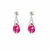 Jewistic Crystal Rose Pear-Shaped Rhodium-Plated Dangling Pierced Earrings Made with Elements 7E70141