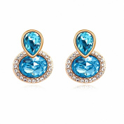 Jewistic Crystal Aquamarine Duo Rose Gold-Plated Pierced Earrings Made with Elements 7E70101