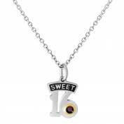 Esty & Me Stainless Steel Necklace w/ Birthstone Sweet 16 Pendant - January