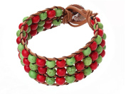 Red and Green Turquoise Wrap Bracelet Genuine Brown Leather Hand Knotted Multilayer 6mm Round Beads