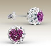 Heart Earrings Crystal Ball 8mm Stering Silver 925 Post