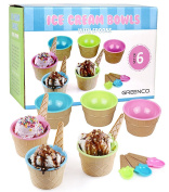 Greenco Set of 6 Vibrant Colours Ice Cream Bowls and Spoons